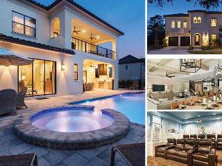 Orlando Retreat | 9 Bed Mediterranean Villa with Amazing Movie Theater, Theme Rooms with Custom Bunk Beds, Games Room & Luxury Throughout - Kissimmee vacation rentals