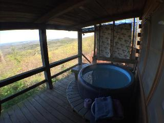 The Roost, cozy log cabin on ridge top, with stunning view from hot tub for two on the deck! - Eureka Springs vacation rentals