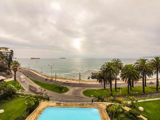Large oceanfront condo with a balcony & shared pool across from the beach! - Vina del Mar vacation rentals