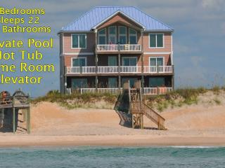 Island Drive 100 Oceanfront! | Private Heated Pool, Hot Tub, Elevator, Game Equipment, Fireplace - North Topsail Beach vacation rentals