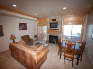 Living area/gas fireplace/tv - Unit 56A | 1 Bed - Huntsville - rentals
