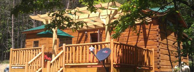 Back of Cabin with private deck and hot tub - Near Cacapon State Park -- renovated Farm House - Great Cacapon - rentals