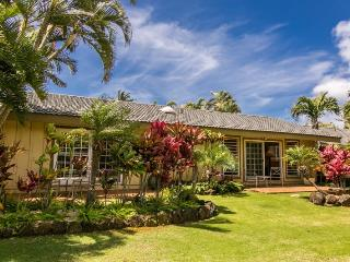 Hale Huna-4bd/3bth house with lovely interiors, tropically landscaped yard, BBQ. Short 10 min walk to beaches. - Koloa vacation rentals