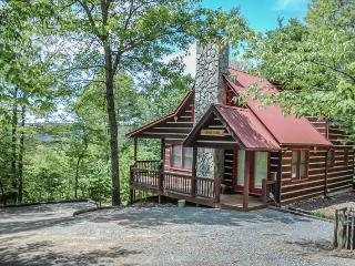 THE LONG VIEW- SECLUDED WITH BREATHTAKING MOUNTAIN VIEWS ,WiFi , AIR HOCKEY, FOOSBALL, LARGE PRIVATE HOT TUB, WOOD BURNING FIREPLACE, FIRE PIT, SCREENED PORCH OFF MASTER, SLEEPS 6, STARTING AT $127/NIGHT! - Blue Ridge vacation rentals