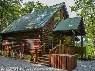 BUCKSKIN BLUFF-3BR/3BA- CABIN WITH A BEAUTIFUL MOUNTAIN VIEW THAT SLEEPS 6, 3 KING SUITES, PET FRIENDLY, FLAT SCREEN TV`S IN EVERY ROOM, WIFI, HOT TUB, POOL TABLE, 2 JETTED TUBS, GAS GRILL, AND A WOOD BURNING FIREPLACE!STARTING AT $180 A NIGHT! - Blue Ridge vacation rentals
