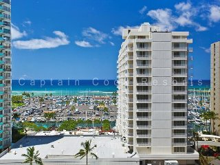 GREAT location!  Marina view!  Washer/dryer, AC, WiFi and parking! - Waikiki vacation rentals