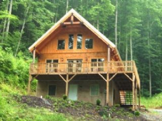 Exterior - Big Laurel Cabin - Wonderful Mt. Chalet, all wood, hot tub, fishing in the creek, sleeps up to 8 - Mars Hill - rentals