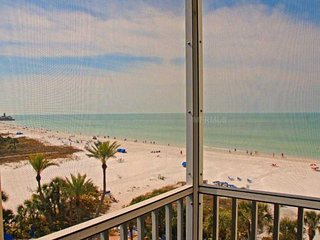 Beachfront - Gulf View! 2 BR/BA Crescent Arms 603S, #1 Beach in the US. - Siesta Key vacation rentals