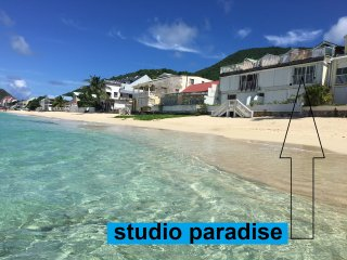 studio paradise feet in water on grand case beach. - Grand Case vacation rentals