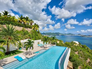 ACQUA...gorgeous 5BR villa with spectacular views, heated pool, & gym!! - Terres Basses vacation rentals