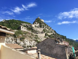 Authentic, 2-bedroom apartment in the medieval walled town of Entrevaux with a terrace and beautiful mountain views - Entrevaux vacation rentals