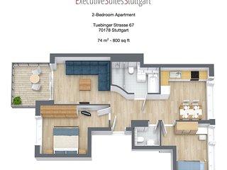 2-Bedroom Apartment Stuttgart Downtown - Furnished - Stuttgart vacation rentals