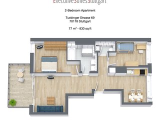 2-Bedroom Furnished Apartment Stuttgart Downtown - Stuttgart vacation rentals