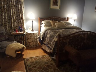 Queen size bed,bathroom in room with shower,balcony ,mini refrigerator - Gloucester vacation rentals