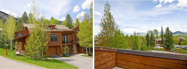 Exterior View of this End Unit Townhome + the View from the Heated Terrace. - Located Right Next to the Moose Creek Lift - Teton Pines Club Access - Golf, Swimming, Tennis & Nordic Skiing (3735) - Jackson - rentals