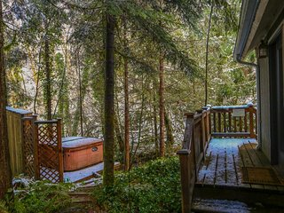 Rustic and cozy creekside home w/ private hot tub, close to ski areas! - Rhododendron vacation rentals