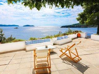 Beachfront Greek Villa with Semi-Private Sandy Beach - Skiathos vacation rentals