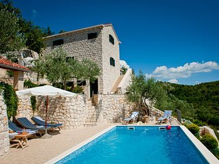 Stunning sea views with large pool and tennis court beautiful large stone house - Komarna vacation rentals