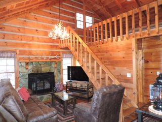 Genuine Log Cabin with Beautiful Long Range Mountain Views on Private 4 Acres - Blue Ridge vacation rentals