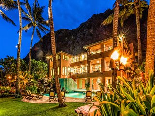 $5500/NT Special (7/30-8/7) ~ Luxurious~9 BR~ Oceanfront~Pool~Sauna~Gym~ - Waimanalo vacation rentals