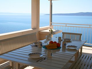 Stunning sea view from large dining terrace, 2 bedroom apartment - Brela vacation rentals