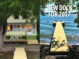 New 70' long and 5' wide dock with recessed solar lights and a large deck! - Cozy Cove Cottage Lakeside on Cayuga Lake NY - Cayuga Lake - rentals