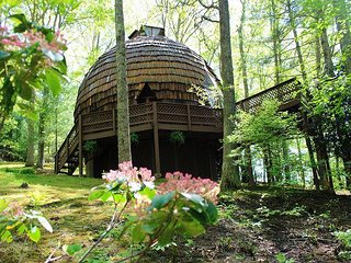 GEODESIC DOME ON 40 ACRES W/BUBBLING HOT TUB, FIRE PIT, HIKING TRAILS & WIFI! - Grassy Creek vacation rentals
